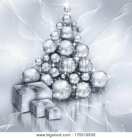 Christmas silver tree, beautiful snowflakes and shining stars