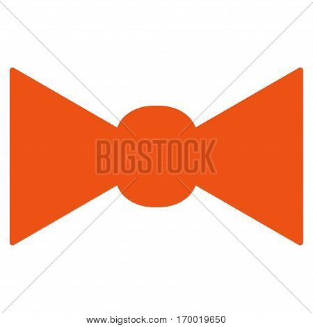 Bow Tie vector icon symbol. Flat pictogram designed with orange and isolated on a white background.