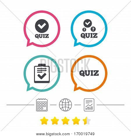 Quiz icons. Checklist with check mark symbol. Survey poll or questionnaire feedback form sign. Calendar, internet globe and report linear icons. Star vote ranking. Vector