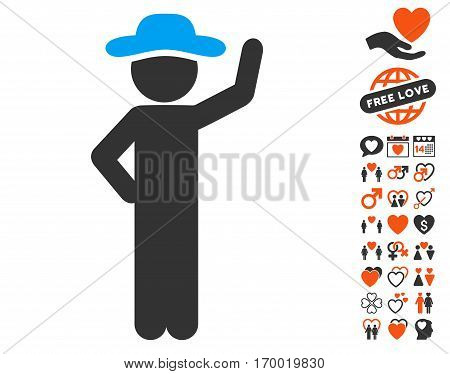 Gentleman Assurance pictograph with bonus marriage design elements. Vector illustration style is flat iconic symbols for web design app user interfaces.