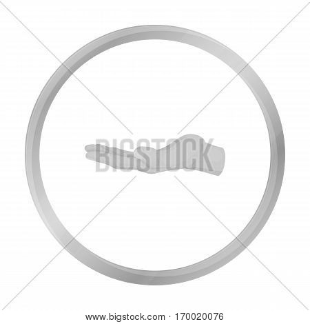 Ask for alms icon in monochrome style isolated on white background. Hand gestures symbol vector illustration.