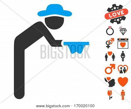 Gentleman Beggar pictograph with bonus amour pictograms. Vector illustration style is flat iconic symbols for web design app user interfaces.