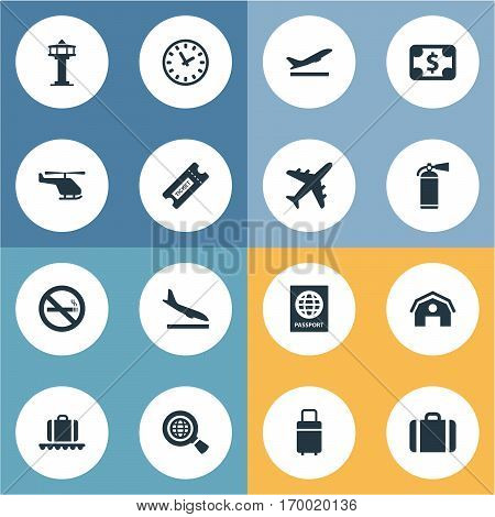 Set Of 16 Simple Plane Icons. Can Be Found Such Elements As Air Transport, Certificate Of Citizenship, Luggage Carousel And Other.