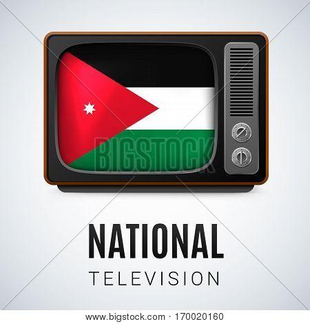 Vintage TV and Flag of Jordan as Symbol National Television. Tele Receiver with Jordanian flag