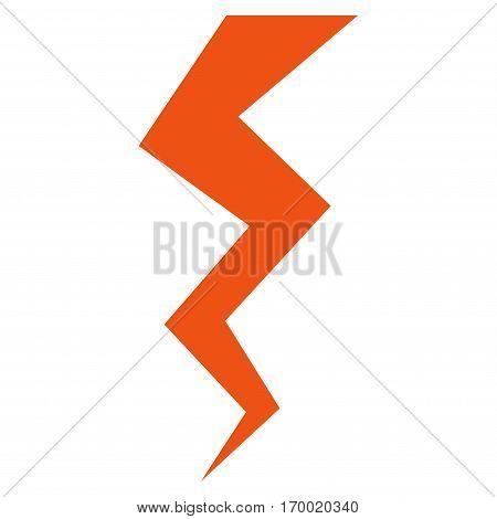Thunder Crack vector icon symbol. Flat pictogram designed with orange and isolated on a white background.