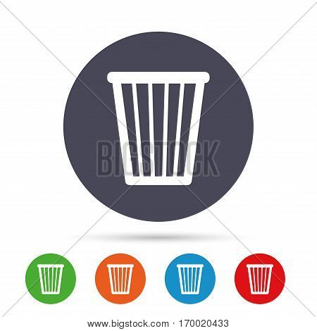 Recycle bin sign icon. Bin symbol. Round colourful buttons with flat icons. Vector