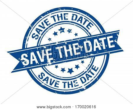 Save the date grunge ribbon stamp isolated
