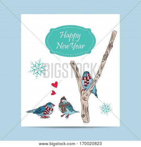 Vector Card With Cute Birds Warm Dressed In Winter Season