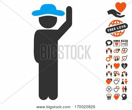 Gentleman Hello pictograph with bonus amour icon set. Vector illustration style is flat iconic elements for web design app user interfaces.