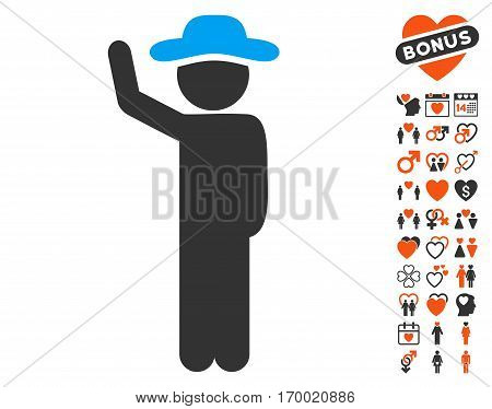 Gentleman Hitchhike pictograph with bonus love design elements. Vector illustration style is flat iconic elements for web design app user interfaces.
