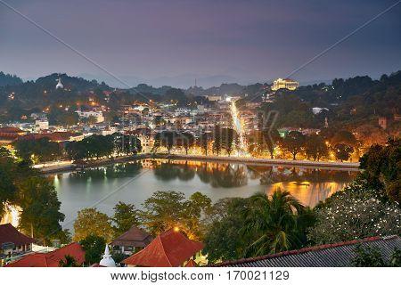 Night view of Kandy, Sri Lanka