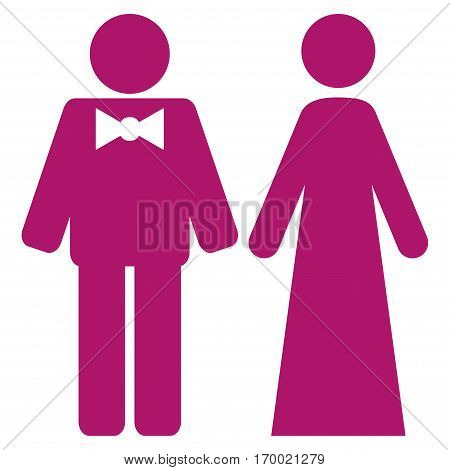 Just Married Persons vector icon symbol. Flat pictogram designed with purple and isolated on a white background.