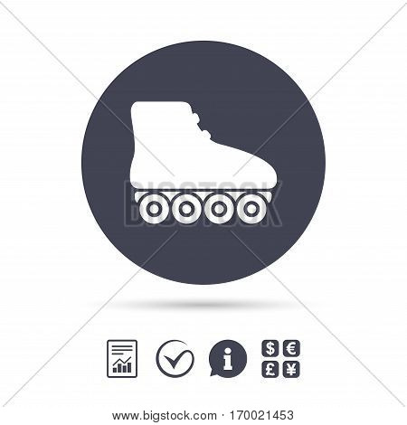 Roller skates sign icon. Rollerblades symbol. Report document, information and check tick icons. Currency exchange. Vector