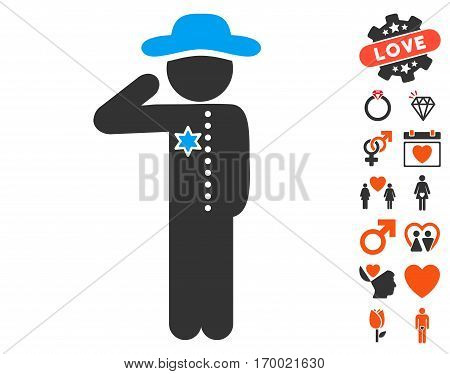 Gentleman Officer icon with bonus marriage pictograph collection. Vector illustration style is flat iconic elements for web design app user interfaces.