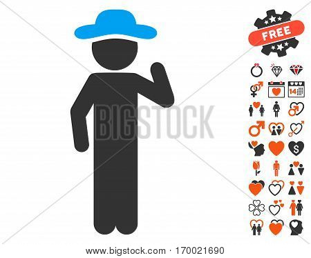 Gentleman Opinion icon with bonus marriage clip art. Vector illustration style is flat iconic symbols for web design app user interfaces.