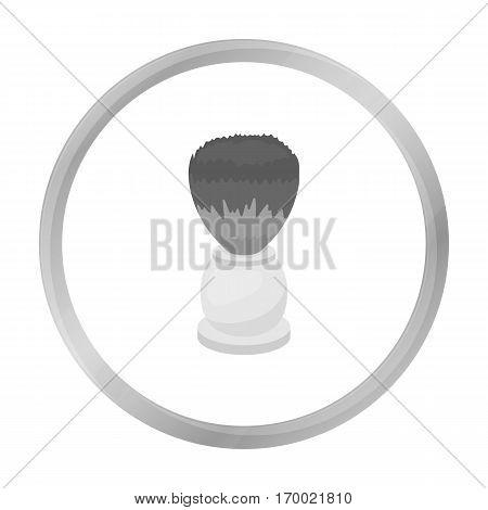 Shaving brush icon in monochrome style isolated on white background. Hairdressery symbol vector illustration.