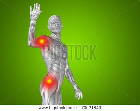 Conceptual 3D illustration human man anatomy upper body health design, joint articular pain, ache injury on green background for medical, fitness, medicine, bone, care hurt osteoporosis arthritis body