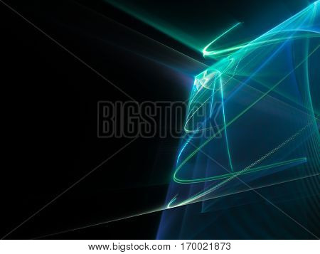 Abstract background element. Fractal graphics series. Three-dimensional composition of glowing lines and mosaic halftone effects. Information and energy concept. Blue and black colors.