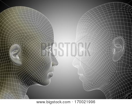 Concept or conceptual 3D illustration wireframe or mesh human male and female head on gray background for technology, cyborg, digital, virtual, avatar, model, science, love relation or future