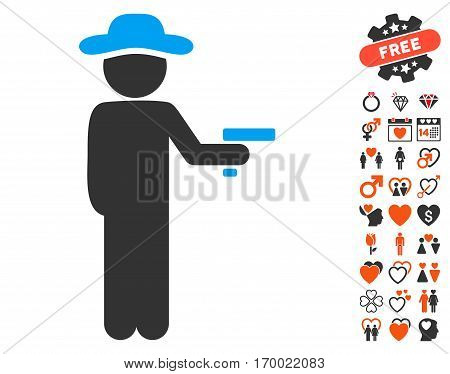 Gentleman Robber pictograph with bonus valentine icon set. Vector illustration style is flat iconic elements for web design app user interfaces.