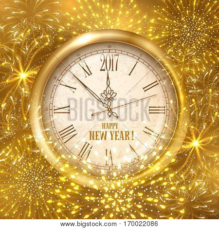 New Year shining banner. Golden clock with inscription Happy New Year and 2017 digits with festive fireworks. Vector illustration.