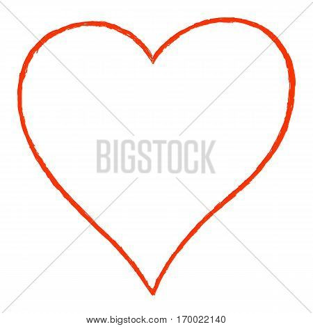 Sketch drawing heart sign with red line contour. Quick and easy recolorable shape. Vector illustration a graphic element
