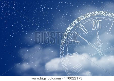 New Year is coming. Circle clock with inscription Merry Christmas and Happy New Year and 2017 digits in the clouds on winter night sky. Vector illustration.