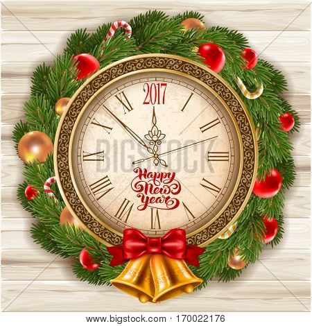 New Year is coming. Vintage clock with inscription Happy New Year and 2017 digits decorated holiday traditional wreath from spruce branches and Christmas decorations. Vector illustration.