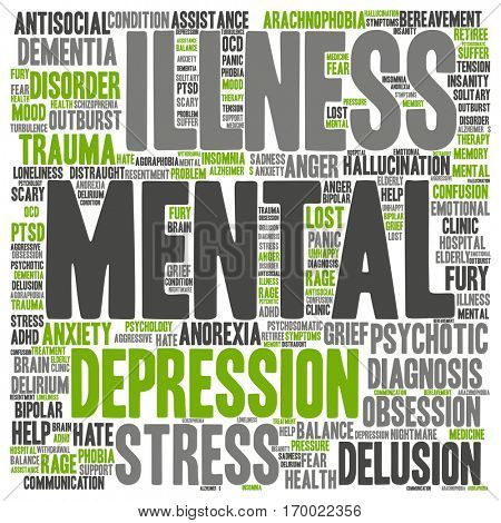 Concept conceptual mental illness disorder management or therapy abstract word cloud isolated on background, metaphor to health, trauma, psychology, help, problem, treatment or rehabilitation