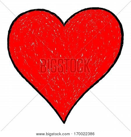 -Sketch drawing red heart symbol with black line contour. Quick and easy re-colorable shape. Vector illustration a graphic element