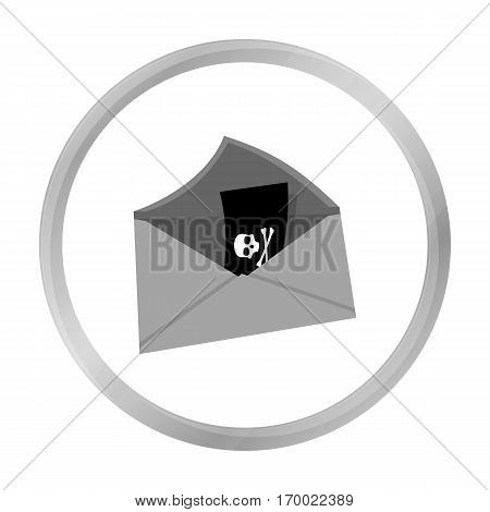 E-mail with virus icon in outline design isolated on white background. Hackers and hacking symbol stock vector illustration.