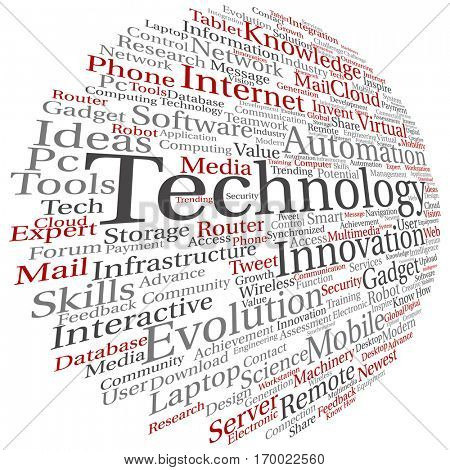 Concept or conceptual digital smart technology, media word cloud isolated on background, metaphor to information, innovation, internet, future, development, research, evolution or intelligence