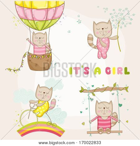 Cute Girl Cat Set, for Baby Shower or Arrival Cards, in vector poster