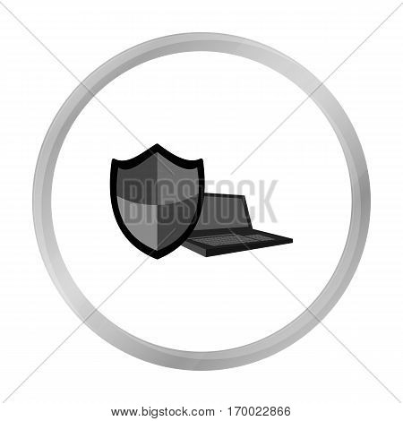 Data security of laptop icon in outline design isolated on white background. Hackers and hacking symbol stock vector illustration.