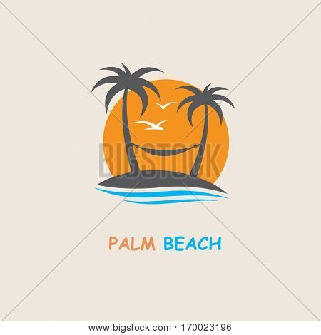 illustration of label with palm tree silhouette on island