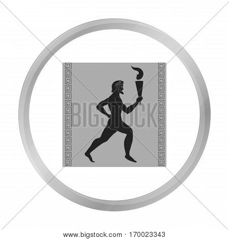 Athlete with olympic fire icon in monochrome style isolated on white background. Greece symbol vector illustration.