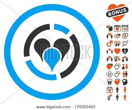 Geo Diagram icon with bonus passion symbols. Vector illustration style is flat iconic elements for web design app user interfaces.