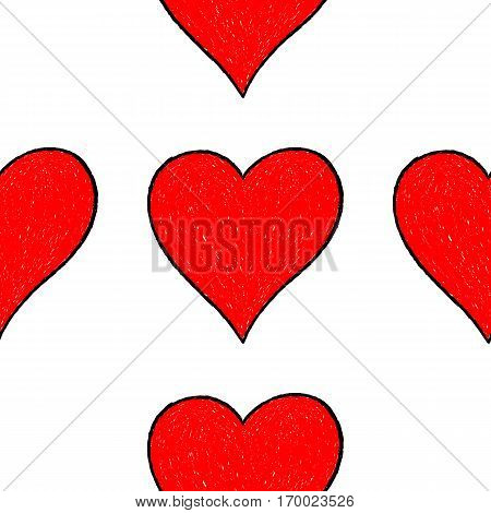 Sketch drawing seamless pattern with red heart sign with contour. Quick and easy re-colorable shape. Vector illustration a graphic element