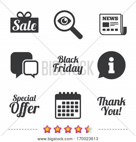 Sale icons. Special offer and thank you symbols. Gift box sign. Newspaper, information and calendar icons. Investigate magnifier, chat symbol. Vector