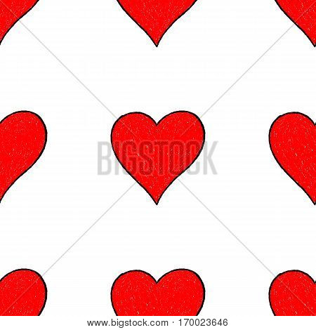 -Sketch drawing seamless pattern with red heart sign with contour. Quick and easy re-colorable shape. Vector illustration a graphic element