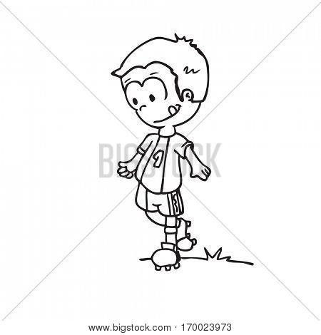 little kid dressed for sports cartoon illustration