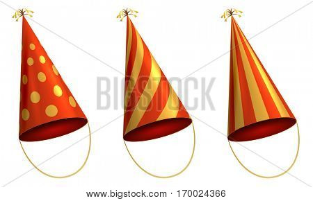 Holiday paper cone hat isolated on white background. Vector illustration.