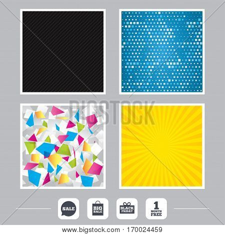 Carbon fiber texture. Yellow flare and abstract backgrounds. Sale speech bubble icon. Black friday gift box symbol. Big sale shopping bag. First month free sign. Flat design web icons. Vector