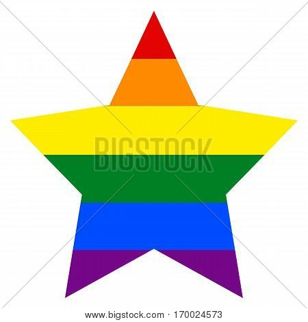 Rainbow pride flag LGBT movement in star shape. Quick and easy re-colorable shape. Vector illustration a graphic element.