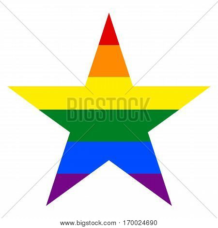 -Rainbow pride flag LGBT movement in star shape. Quick and easy re-colorable shape. Vector illustration a graphic element.