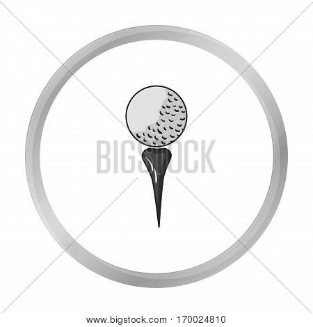 Golf ball on tee icon in monochrome style isolated on white background. Golf club symbol vector illustration.