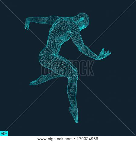 Man is Posing and Dancing. Silhouette of a Dancer. A Dancer Performs Acrobatic Elements. 3D Model of Man. Human Body. Sport Symbol. Design Element. Vector Illustration.