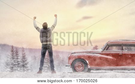 Toward adventure! Man is relaxing and enjoying road trip. Successful man looking up to sunset sky enjoying freedom. Positive human emotion feeling life perception success, peace of mind concept.