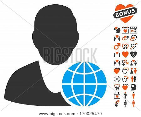 Global Manager icon with bonus marriage design elements. Vector illustration style is flat iconic symbols for web design app user interfaces.