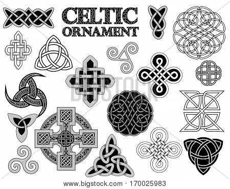set of Ancient pagan Scandinavian sacred symbols and ornaments - Celtic cross knot a symbol of the Druids Triskele Odin's Horn